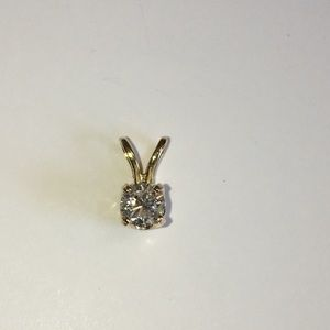 Jewelry - 14K Yellow Gold Natural Diamond Solitaire Pendant